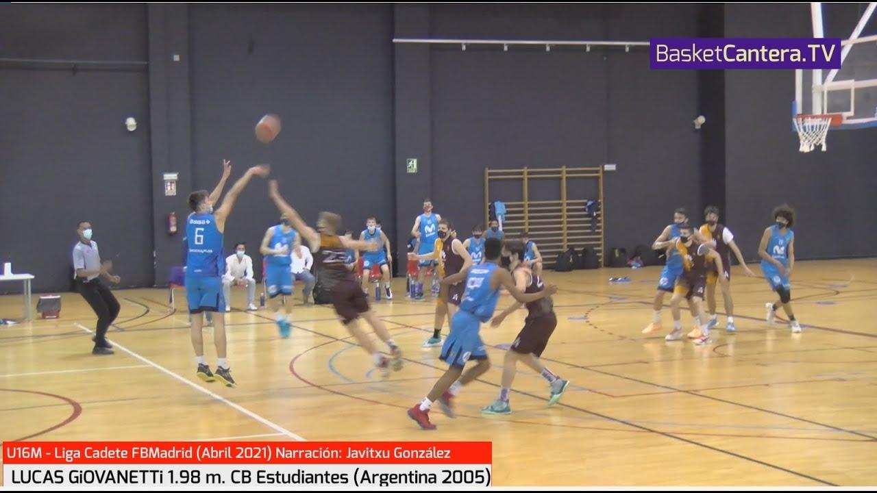LUCAS GiOVANNETTi (Argentina 2005) 1.98 m. Mov. Estudiantes (19 pts Vs CBZentro). Liga U16M FBMadrid