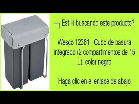 Wesco 12381   Cubo de basura integrado (2 compartimentos de 15 L), color negro