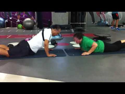 Sprawl-to push ups. Couple workout.