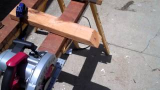 Cutting 2x4 with Skilsaw 15-Amp Saw
