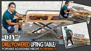 diy-homemade-drill-powered-lifting-table-portable-adjustable-height-workbench