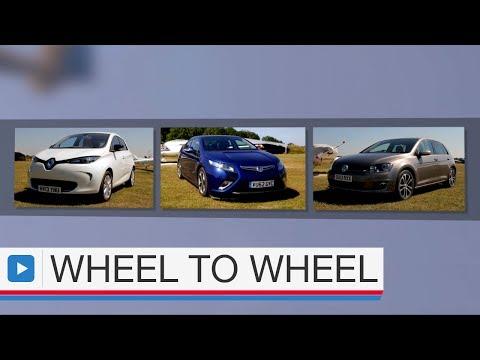 Renault Zoe vs Vauxhall Ampera vs Volkswagen Golf