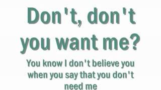 Human League   Don't You Want Me Baby & Lyrics .wmv