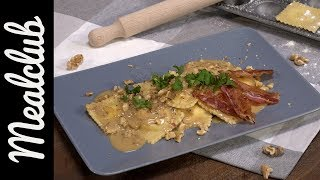 Ricotta-Parmesan-Ravioli mit Walnuss-Speck-Soße I Pasta Selbermachen I MealClub