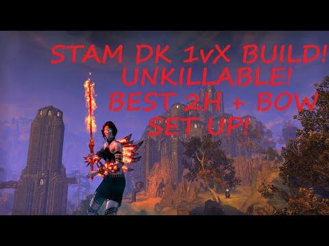 ESO PvP: STAM DK 1vX BUILD - 1vX GAMEPLAY. (2H & BOW IS INSANE)