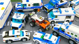 LEGO Police Сar Сhase . Car toys : Fire Truck, Crane, Tractor and Space Rocket . Toy Cars for kids