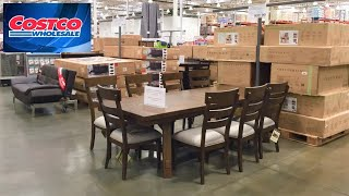 COSTCO KITCHEN DINING ROOM TABLES SOFAS CONSOLES FURNITURE SHOP WITH ME SHOPPING STORE WALK THROUGH