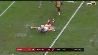 Nick Bosa ends the game with a Sack and Slide // Redskins vs. 49ers slip n slide celebration