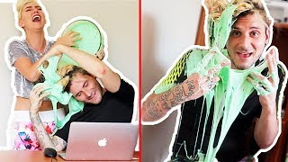 SLIME PRANK! POURING SLIME ON MY HUSBANDS HAIR! I RUINED HIS HAIR | NICOLE SKYES