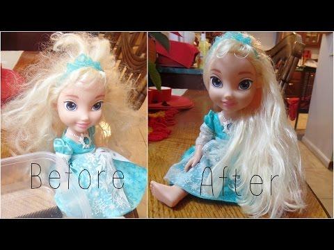 How To detangle doll's hair - ft. Frozen's Elsa