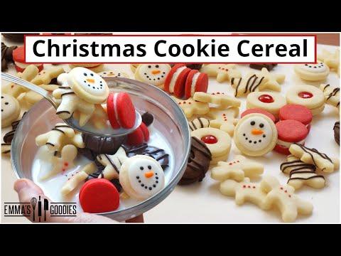 3 Ingredient Mini CHRISTMAS COOKIE CEREAL ! Sugar Cookie Cereal!