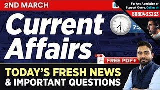 #253 : 2 March 2019 Current Affairs in Hindi   Current Affairs 2019 Questions + Static GK Tricks