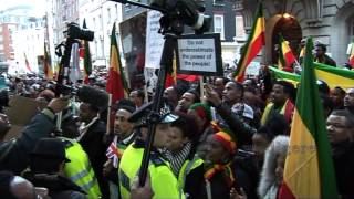 Ethiopians; Footage Of Ethiopians Protesting Out Side Saudi Arabia Embassy In London 2