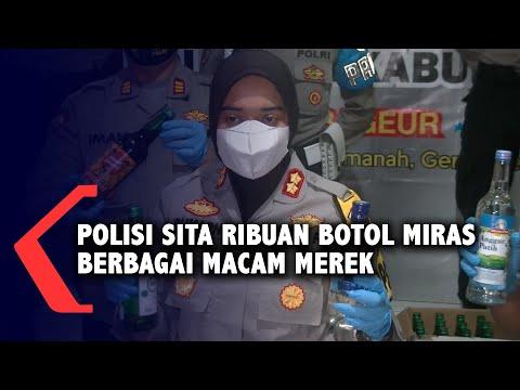 polisi sita ribuan botol miras berbagai macam merek