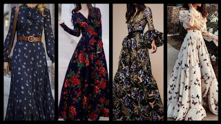 High Quality Floral Print Silk And Chiffon Long Maxi Dresses And Skater Dresses Design Ideas