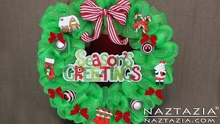 preview picture of video 'DIY Learn How to Make Deco Geo Mesh Poly Christmas Holiday Wreath'