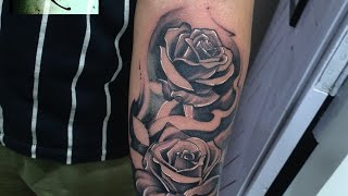 Roses And Cross Forearm Tattoo