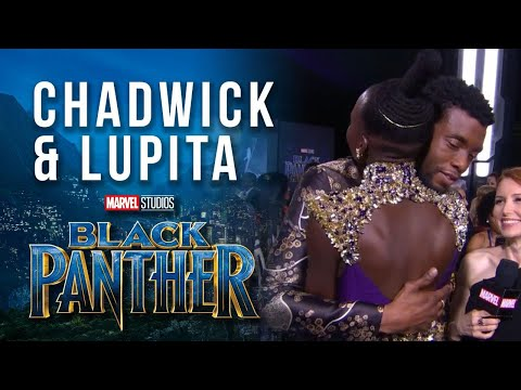 Chadwick Boseman & Lupita Nyong'o at Marvel Studios' Black Panther World Premiere Red Carpet