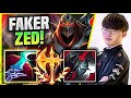 FAKER TRIES CONQUEROR BRUISER ZED BUILD! - T1 Faker Plays Zed Mid vs Sett! | Season 11