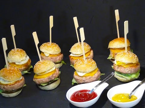 Receta Mini hamburguesas de pollo caseras -  Recetas de cocina, paso a paso, tutorial