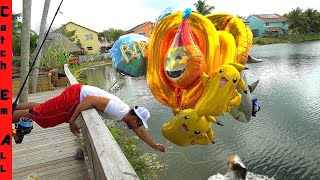 FISHING with 1,000 GALLONS of HELIUM BALLOONS! **FISH FLY part 1**