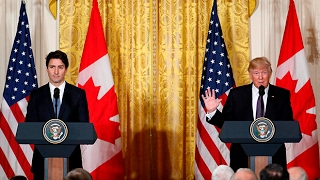 Trudeau and Trump speak to media after talks [Full media briefing]