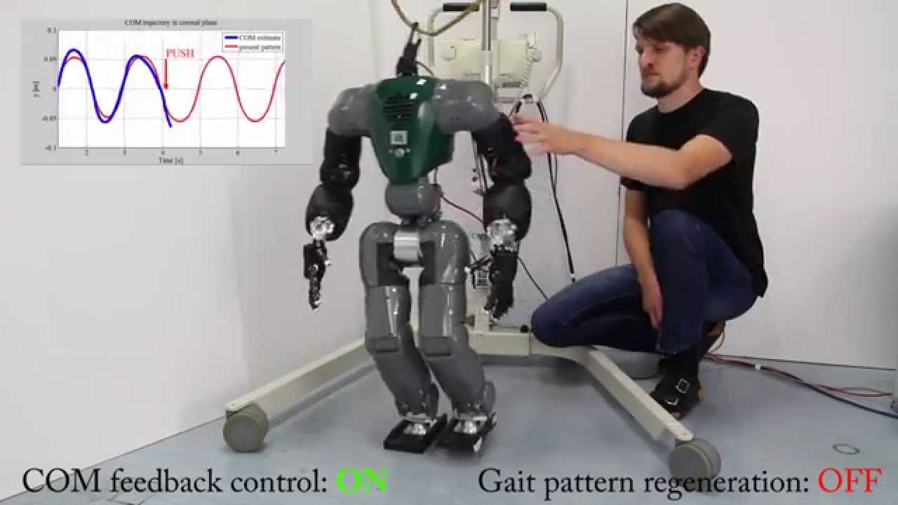 Bipedal walking gait generation for a humanoid robot subjected to external pushes. The robot recovers its stability by changing the step placement and timing.