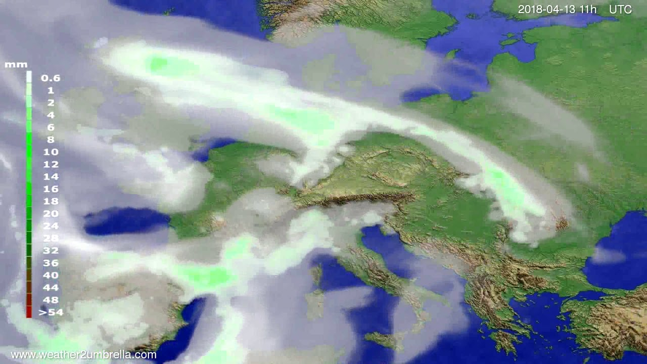 Precipitation forecast Europe 2018-04-10