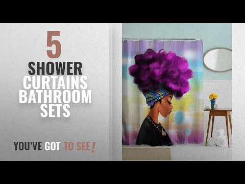 Top 10 Shower Curtains Bathroom Sets [2018]: Afro Sexy Lady Purple Hair African Girl Shower Curtains