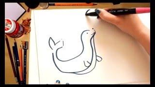 Como dibujar una Foca - dibujos para niños