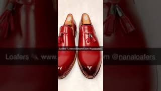 Men's Red Leather Loafers
