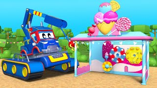 Build An ICE CREAM Stand With CONSTRUCTION TRUCK! | Super Truck | Car City World App