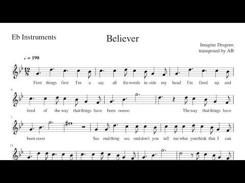Imagine Dragons Believer sheet music Sheet Music in 2019