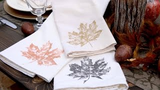 Hand Stamped Leaf Napkins For Fall // Garden Answer