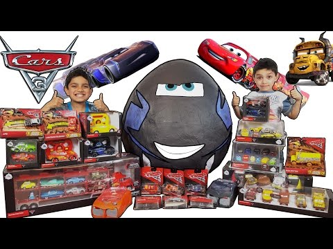 Disney 🚗 Cars 3 🌎 Worlds Biggest Giant  Toys Surprise 🍳 Egg video for kids 50+ cars