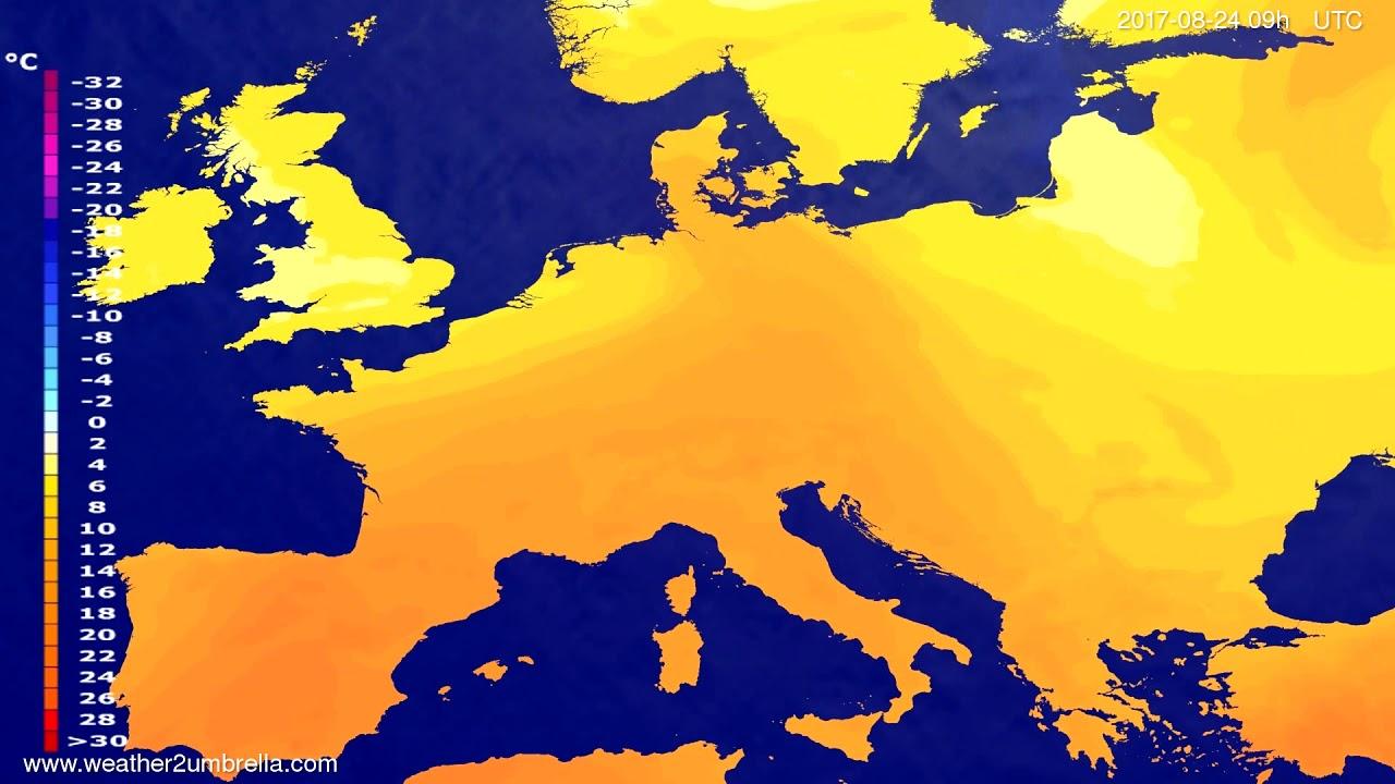 Temperature forecast Europe 2017-08-22