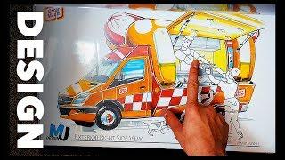 Designing A Food Truck | Marker Rendering