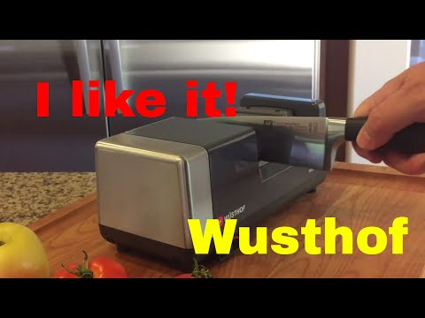 The Wusthof Chef's Choice knife sharpener PEtec IN ACTION.  Electric Sharpener Review MODEL 36375