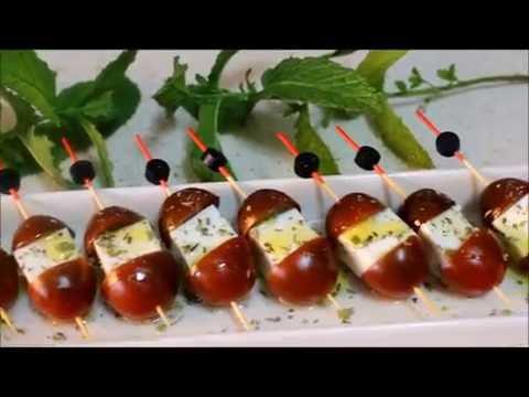 Brochetas de tomatitos cherry y queso fresco