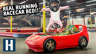 We Build a Motorized Racecar Bed - and Take it to a Kart Track!