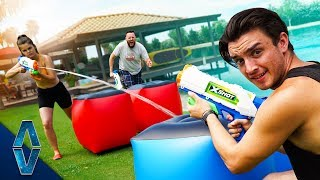 We Had A Giant Battle At A PRIVATE LAKE HOUSE!!