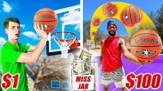 $1 vs $100 TRICK SHOT MISS JAR CHALLENGE!