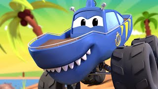 Monster Město - Monster žralok Martin & Monster odtahové auto Mário spolu závodí