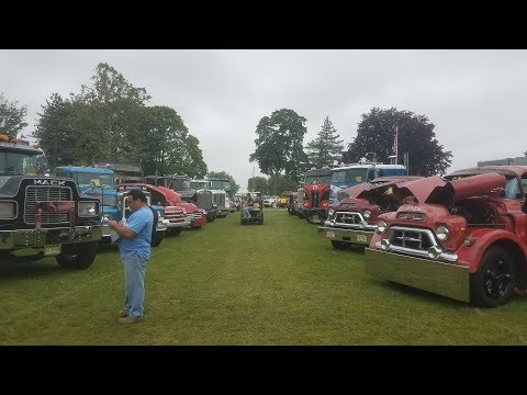 Classic Semi Trucks Leaving the 2017 ATCA Truck Show - Macungie, PA