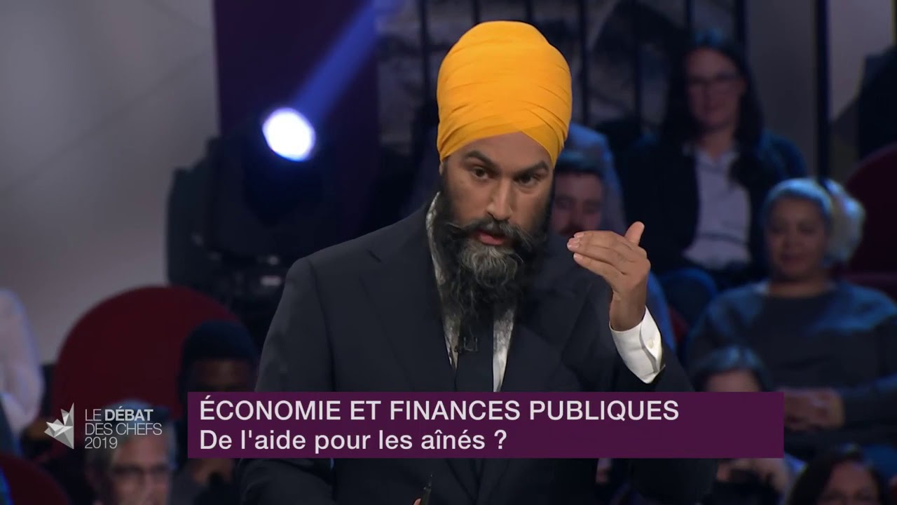 Jagmeet Singh answers a question about financial help for seniors