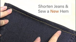 How To: Hem Jeans | Hand Sew A New Hem W/ Gold Thread | Hemming Tutorial | Sewing For Beginners