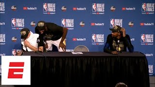 Klay Thompson googles himself during press conference after Game 4 of 2018 NBA Finals | ESPN