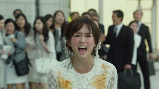 """Mirei Kiritani, screaming with messy hair and dirty clothes """"Who do you think you are?"""""""