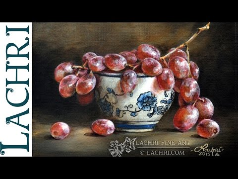 still life painting grapes by lachri fine art