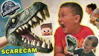 Jurassic World Scare Cam + Minecraft & Box Stair Cam FUNnel V Velociraptor Fun